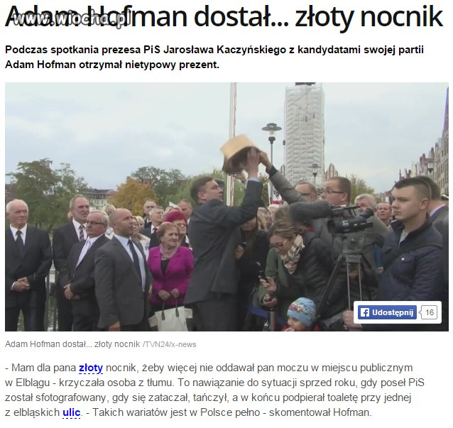 Prezent w sam raz dla Hofmana