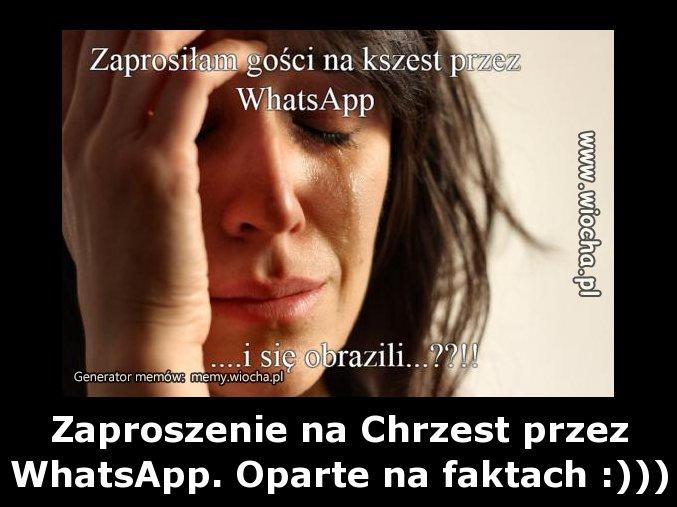 Zaproszenie na Chrzest przez WhatsApp.
