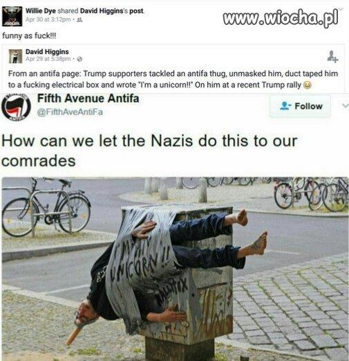 Faszysta z Antify, ukarany przez normalnych obywateli.