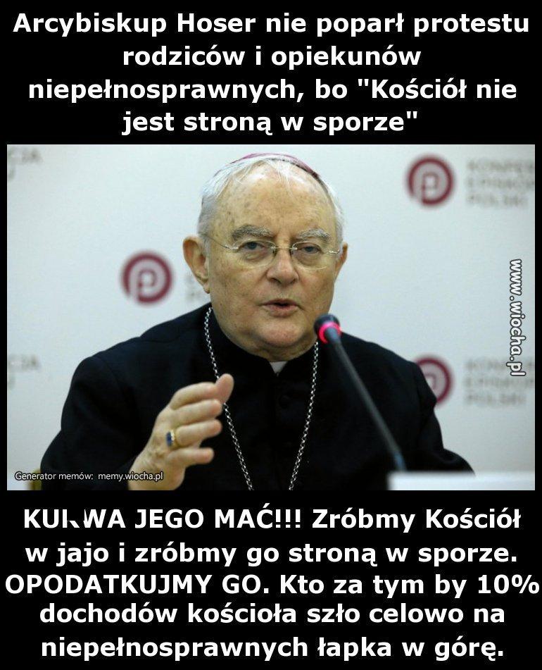 Arcybiskup Hoser nie poparł protestu rodziców