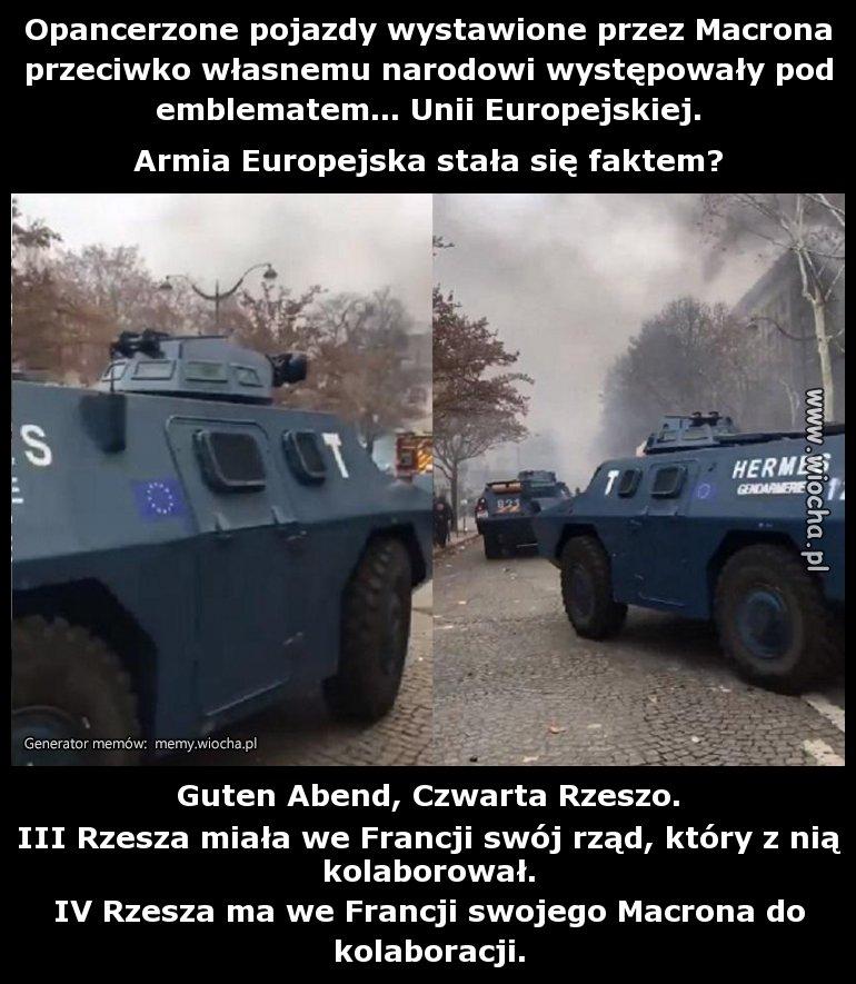 Opancerzone pojazdy wystawione przez Macrona