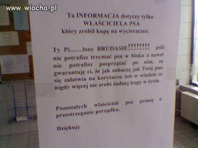Informacja na drzwiach bloku