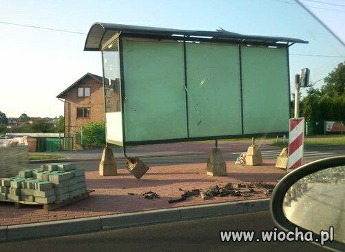 Rozbrykany przystanek autobusowy