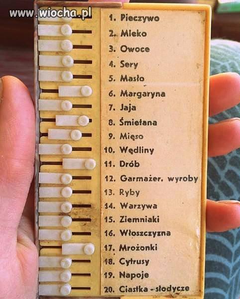 PRL-owski tablet z zakupami.