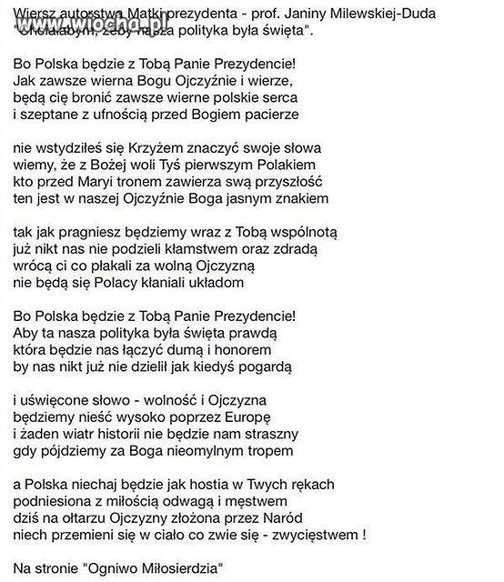 Wiersz Matki Prezydenta Wiochapl Absurd 1520031