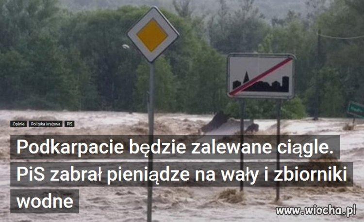 Powodzie i podtopienia? To wszystko wina PiS.