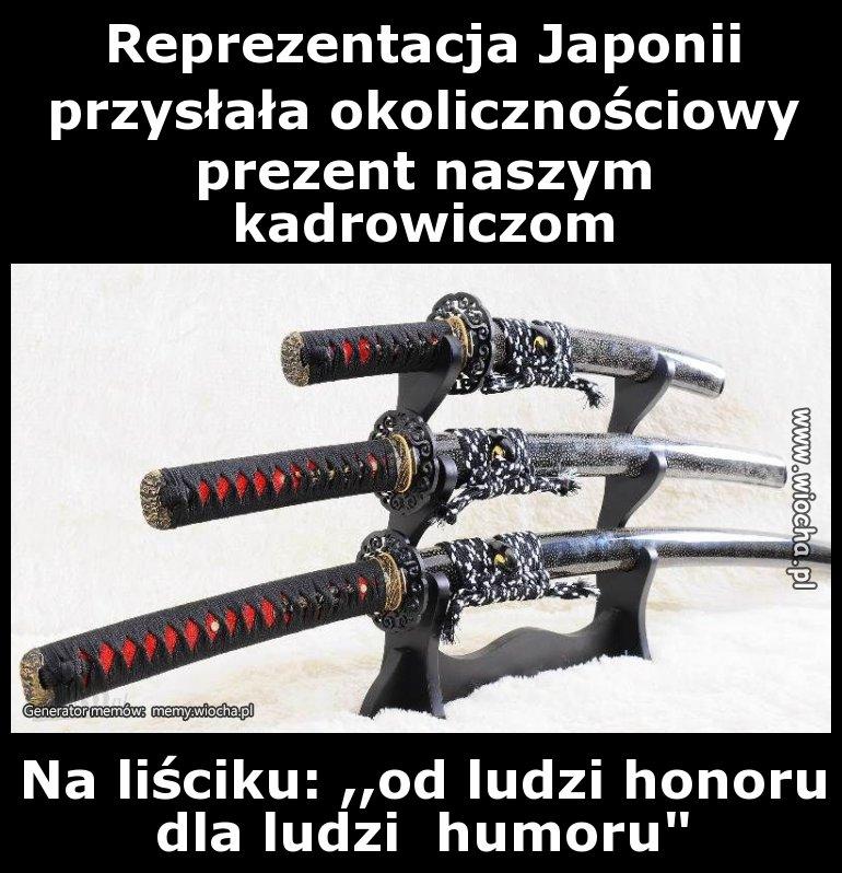 Reprezentacja Japonii przysłała okolicznościowy