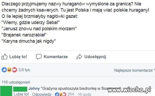 Huragany po polsku