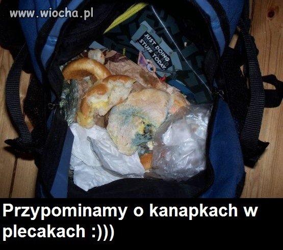 Przypominamy o kanapkach w plecakach!