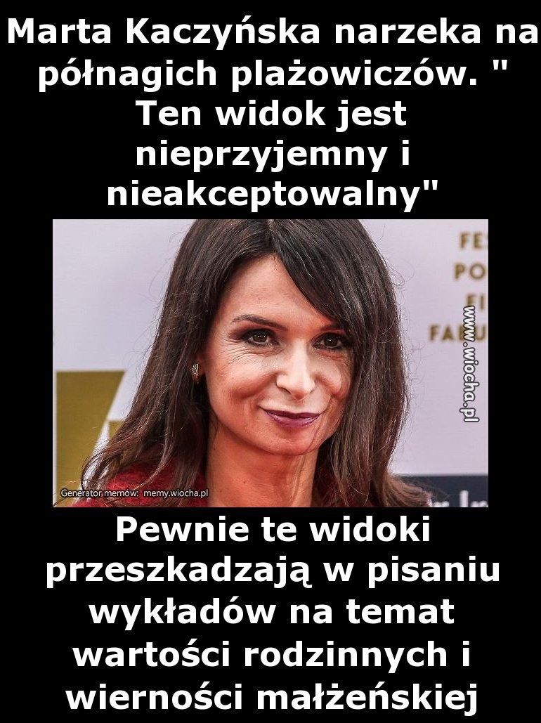 Marta Kaczyńska narzeka na półnagich plażowiczów.