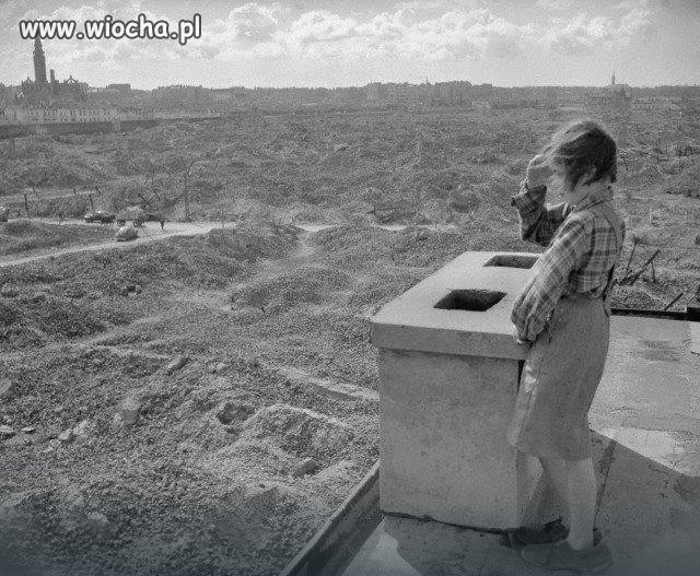 Ruiny getta na Muranowie Warszawa 1946r.